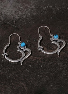 Moksha OM Blue Stone Earrings
