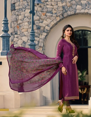 Purple embroidered Crepe semi stitched salwar with dupatta