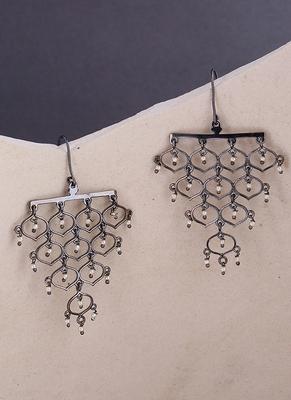Jaali Pearl Layered Drop Earrings