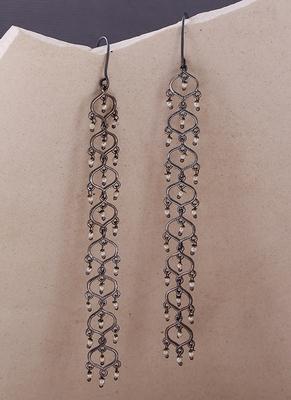 Jaali Pearl Long Drop Earrings