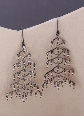 Jaali Pearl Layered Brass Earrings