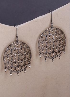 Jaali Pearl Filigree Round Earrings