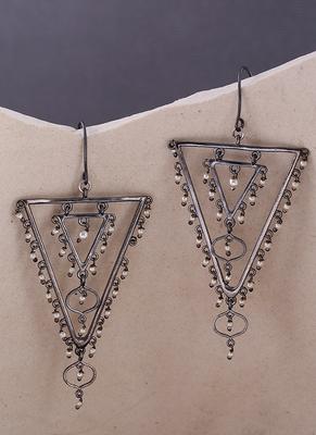 Jaali Pearl Layered Triangles Earrings