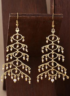 Jaali Pearl Layered Drop Style earrings