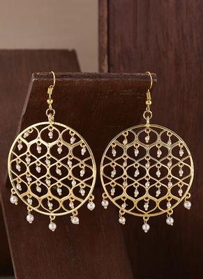 Jaali Pearl Filigree Gold Plated Earrings
