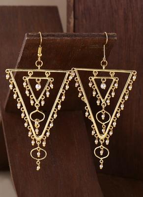 Jaali Pearl Embellished Triangles Earrings