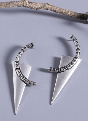 Aztec Bar Half Circle and Triangle Earrings