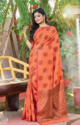 Peach Cotton Handloom Zari Work Traditional Saree