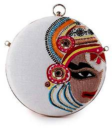 Women's Party Wear Embroidered Round Box Clutch Purse Bag (Multicolour)
