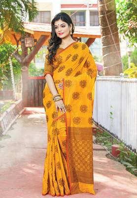Mustard Yellow Cotton Handloom Zari Work Traditional Saree