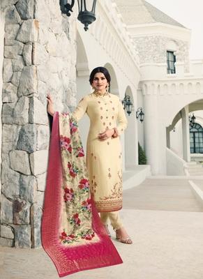 Cream embroidered georgette semi stitched salwar with dupatta