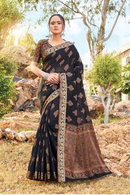 Black Cotton Handloom Jacquard Traditional Saree
