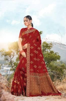 Red Cotton Handloom Jacquard Traditional Saree