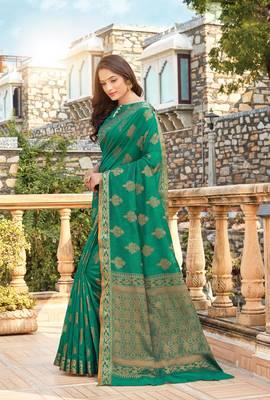 Green Cotton Handloom Jacquard Traditional Saree