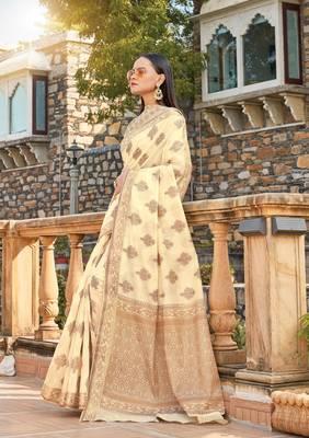 Cream Cotton Handloom Jacquard Traditional Saree