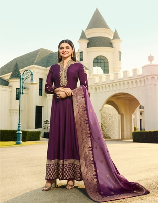 Purple embroidered silk blend semi stitched salwar with dupatta