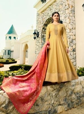 Yellow embroidered silk blend semi stitched salwar with dupatta