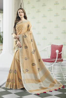 Peach Linen Cotton Embroidery Traditional Saree