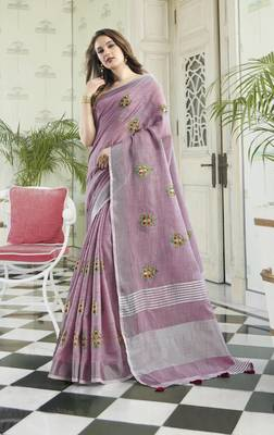 Light Purple Linen Cotton Embroidery Traditional Saree