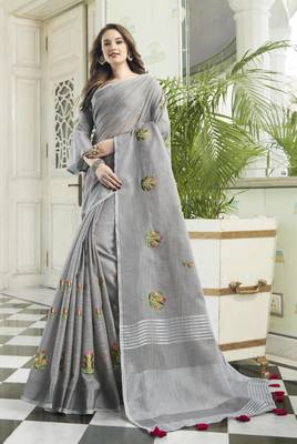 Grey Linen Cotton Embroidery Traditional Saree