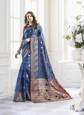 Turquoise Cotton Handloom Zari Work Traditional Saree