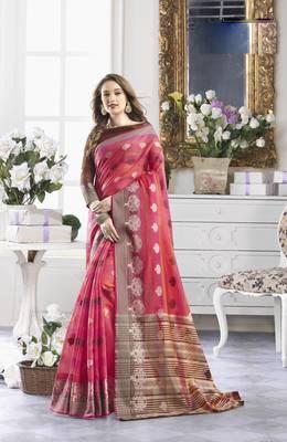 Pink Cotton Handloom Zari Work Traditional Saree