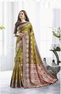 Mehendi Green Cotton Handloom Zari Work Traditional Saree