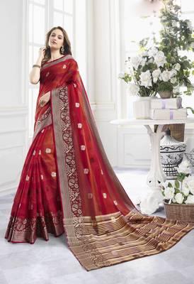 Red Cotton Handloom Zari Work Traditional Saree