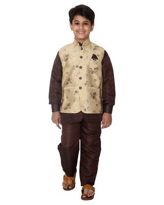 Fawn printed cotton silk boys-kurta-pyjama