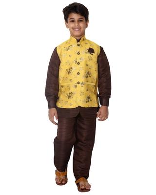 Yellow printed cotton silk boys-kurta-pyjama