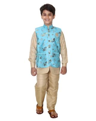Turquoise printed cotton silk boys-kurta-pyjama