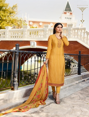 Yellow embroidered crepe semi stitched salwar with dupatta
