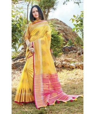 Yellow Linen Cotton Woven Work Traditional Saree