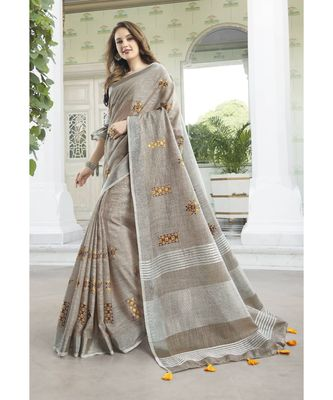 Light Beige Linen Cotton Embroidery Traditional Saree