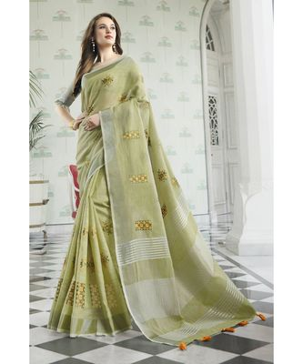 Pista Green Linen Cotton Embroidery Traditional Saree