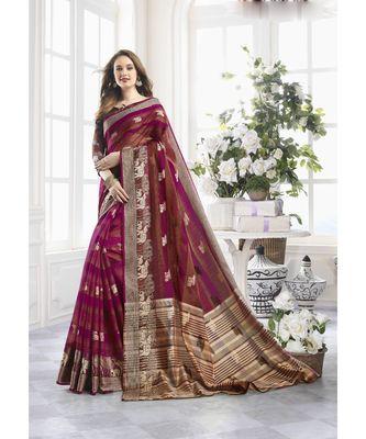 Magenta Cotton Handloom Zari Work Traditional Saree