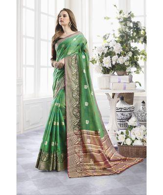 Green Cotton Handloom Zari Work Traditional Saree