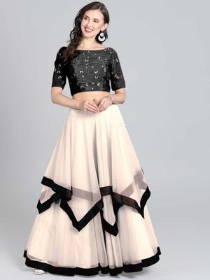 Black- White Embrodery Net  Lehenga Choli