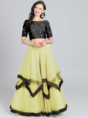Black-Yellow Embrodery Net Lehenga Choli