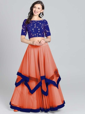 orange Embrodery Net Lehenga Choli