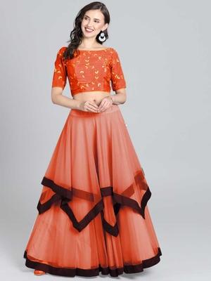 Orange Embrodery  Net  Lehenga Choli