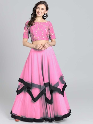 Pink Embrodery  Net Lehenga Choli