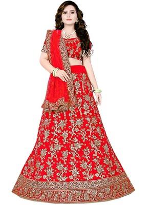 Dulhan Red  Embrodery Satin Lehenga Choli