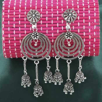 Lovely Silver Circles with Jhumki Earrings