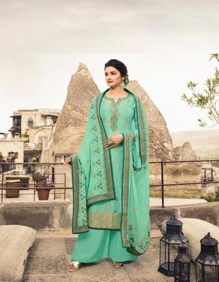 Green embroidered Jacquard semi stitched salwar with dupatta