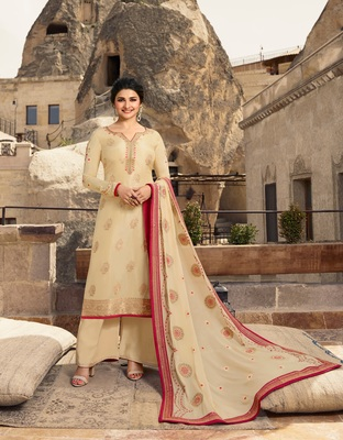 Cream embroidered Jacquard semi stitched salwar with dupatta