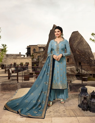 Blue embroidered Jacquard semi stitched salwar with dupatta