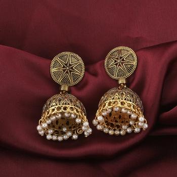 Spunky Golden Pave Pearl Jhumki Earrings