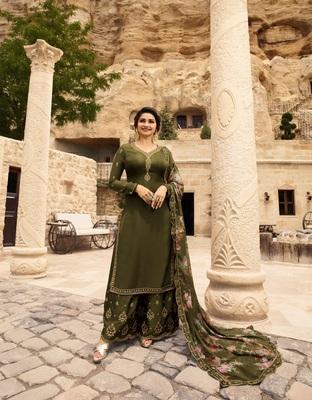 Green embroidered Satin semi stitched salwar with dupatta