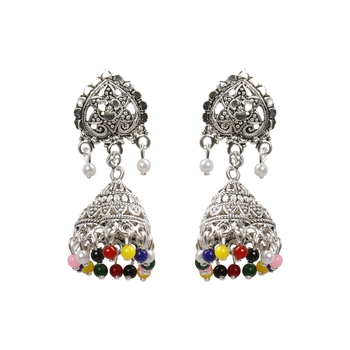 Alluring Multicolor Flower and Beads Jhumki Earrings
